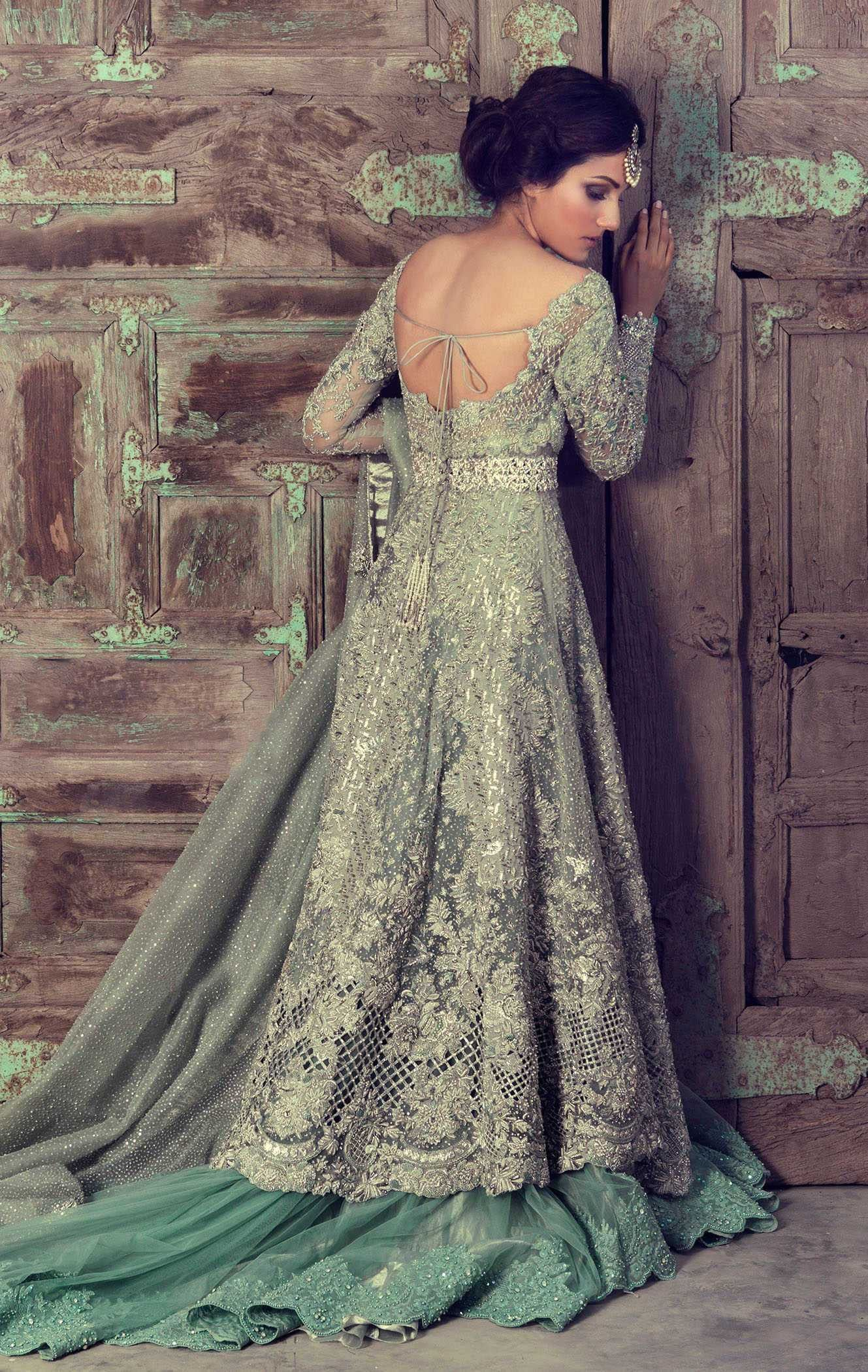 Mint Green Color Designer Jacket Lehenga Products in