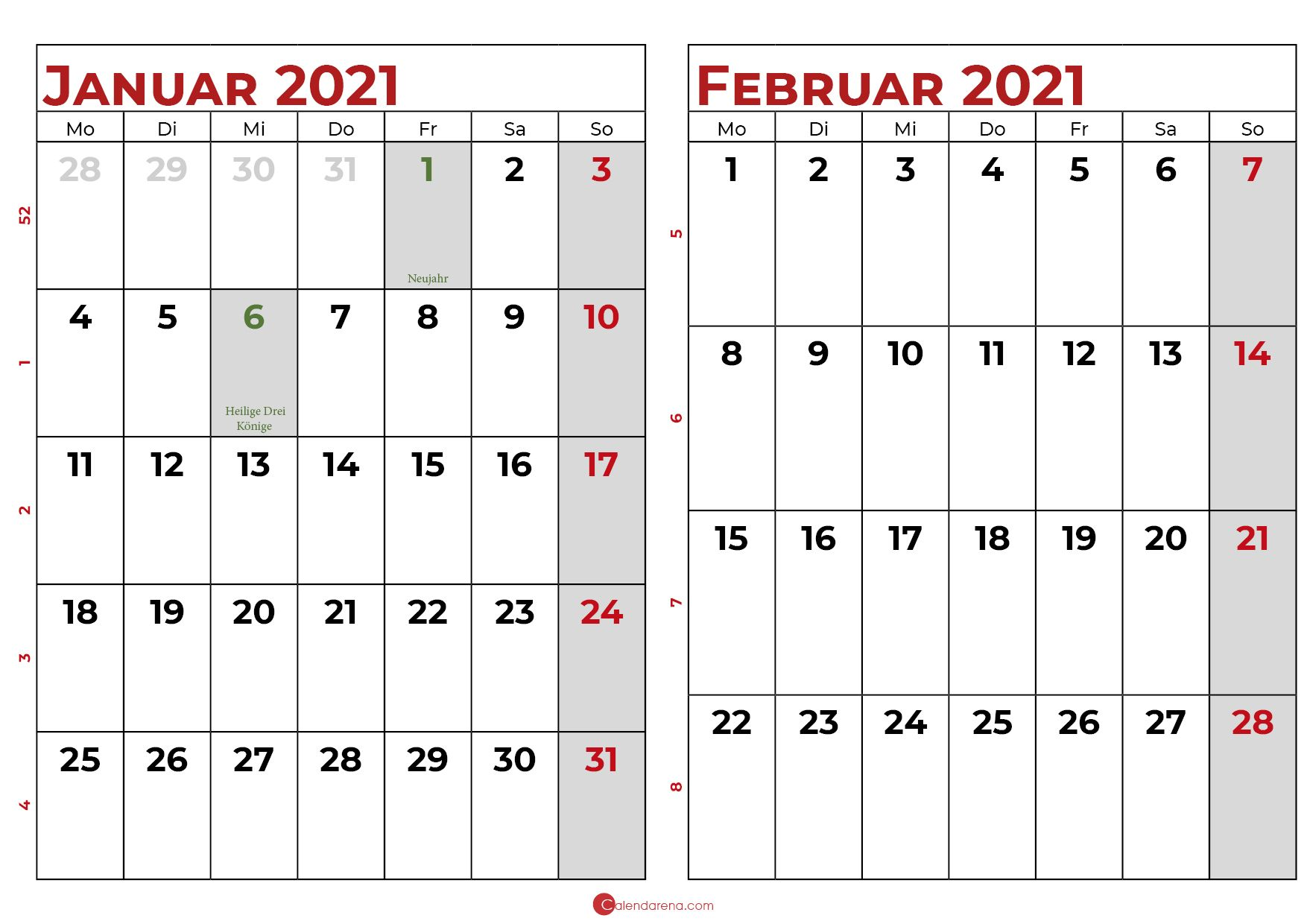 Wochenkalender 2021 Zum Ausdrucken Februar : 2021 Februar ...
