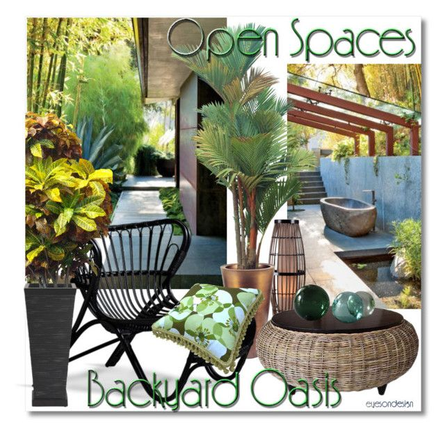 """Open Spaces ~~ Backyard Oasis"" by eyesondesign ❤ liked on Polyvore featuring interior, interiors, interior design, home, home decor, interior decorating, Thos. Baker, Padma's Plantation, Croton and TastemastersDesignGroup"