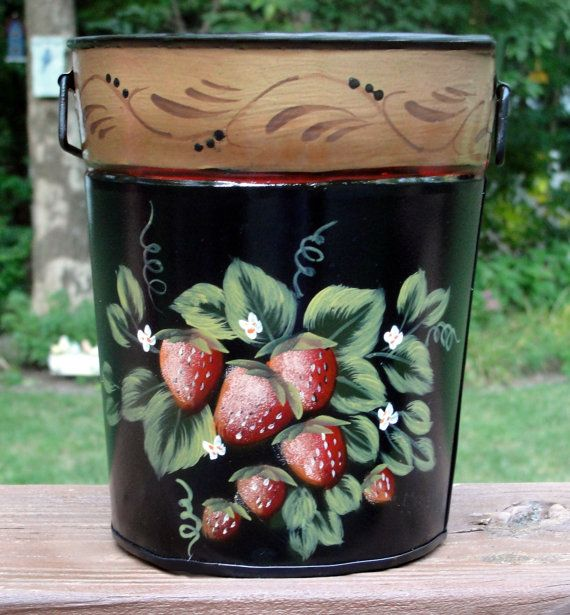 Hand Painted Metal Strawberry Planter And By