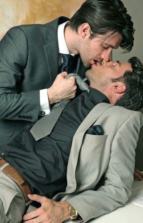 Gay office kiss