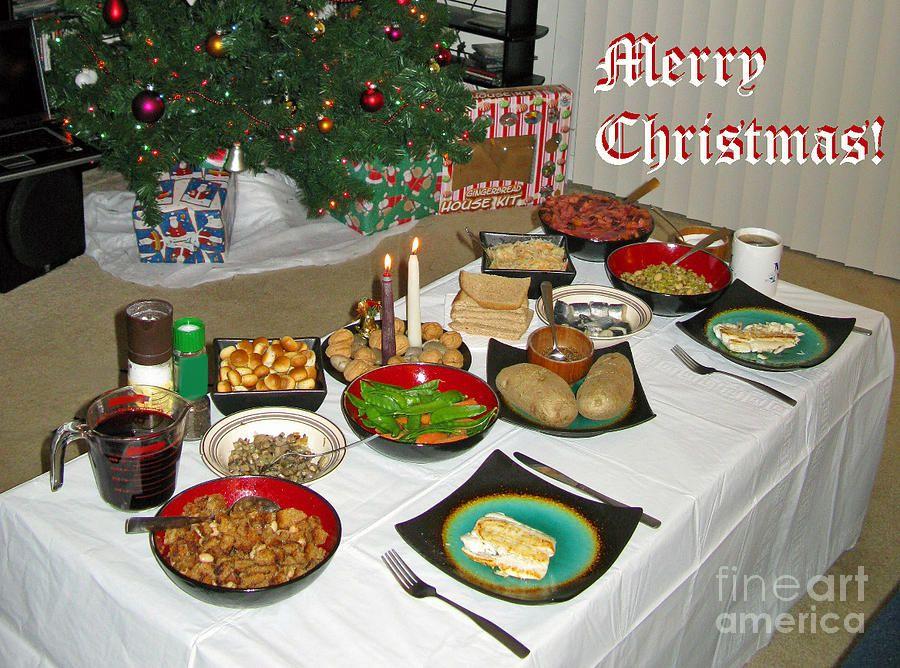 Food For Christmas Eve.Merry Christmas Traditional Lithuanian Christmas Eve Dinner