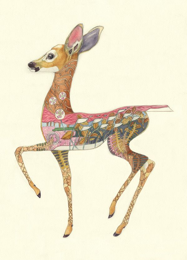 Daniel Mackie. Gorgeous Watercolor Illustrations Of Animals Wearing Their Natural Habitats