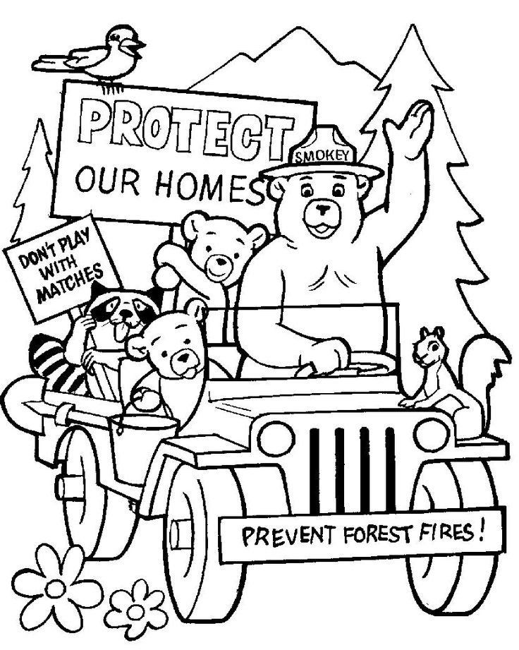 Fire Department Coloring Pages 28 [ Smokey Bear Coloring