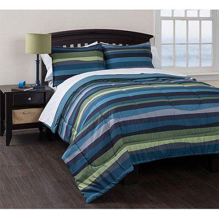 Walmart Bedroom Sets Inspiration American Original Blue Pacific Stripe Reversible Complete Bedding Inspiration
