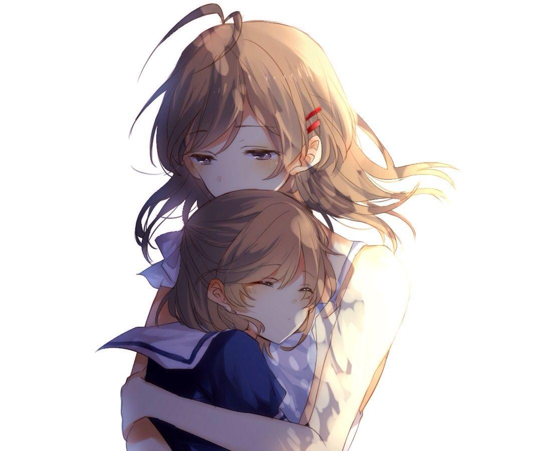 2girls blue eyes brown hair chunnkoromochi clannad furukawa nagisa hug loli okazaki ushio short hair | konachan.com