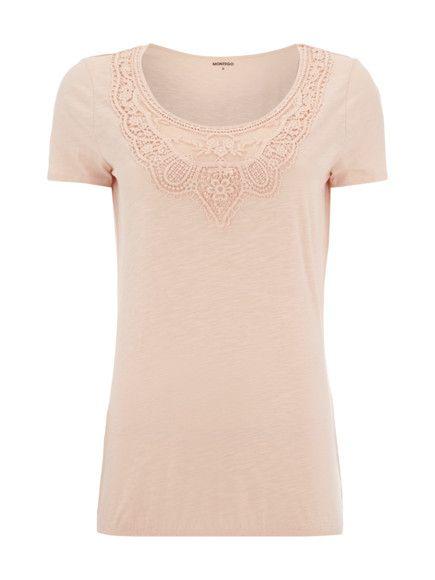 Shirt mit Spitzenbesatz Rosé - 1