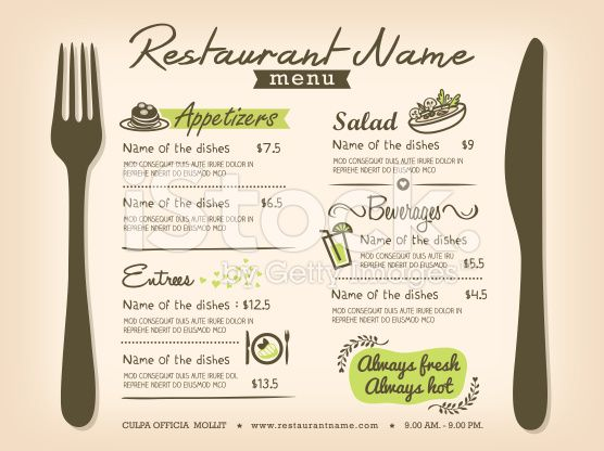 Restaurant Placemat Menu Design Template Layout Modeles De Menu Cartes De Menu Table De Restaurant