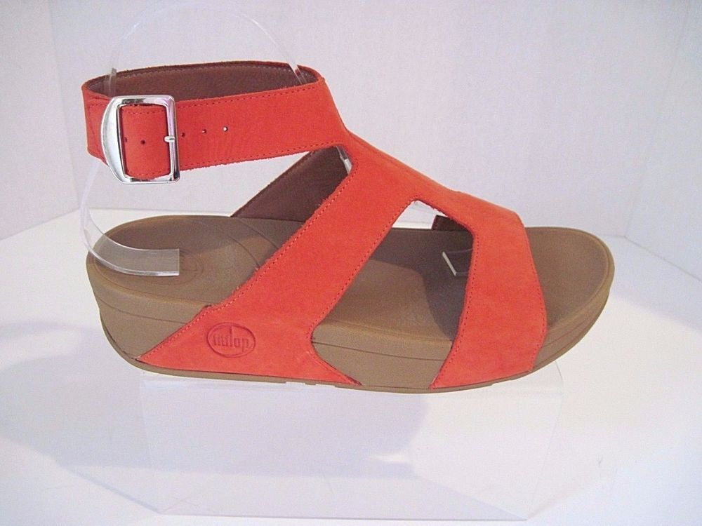 83d00bf6cb2 FitFlop 190-210 ARENA Women s Orange Suede SANDALS Size 8 M MSRP  140   FitFlop  Gladiator