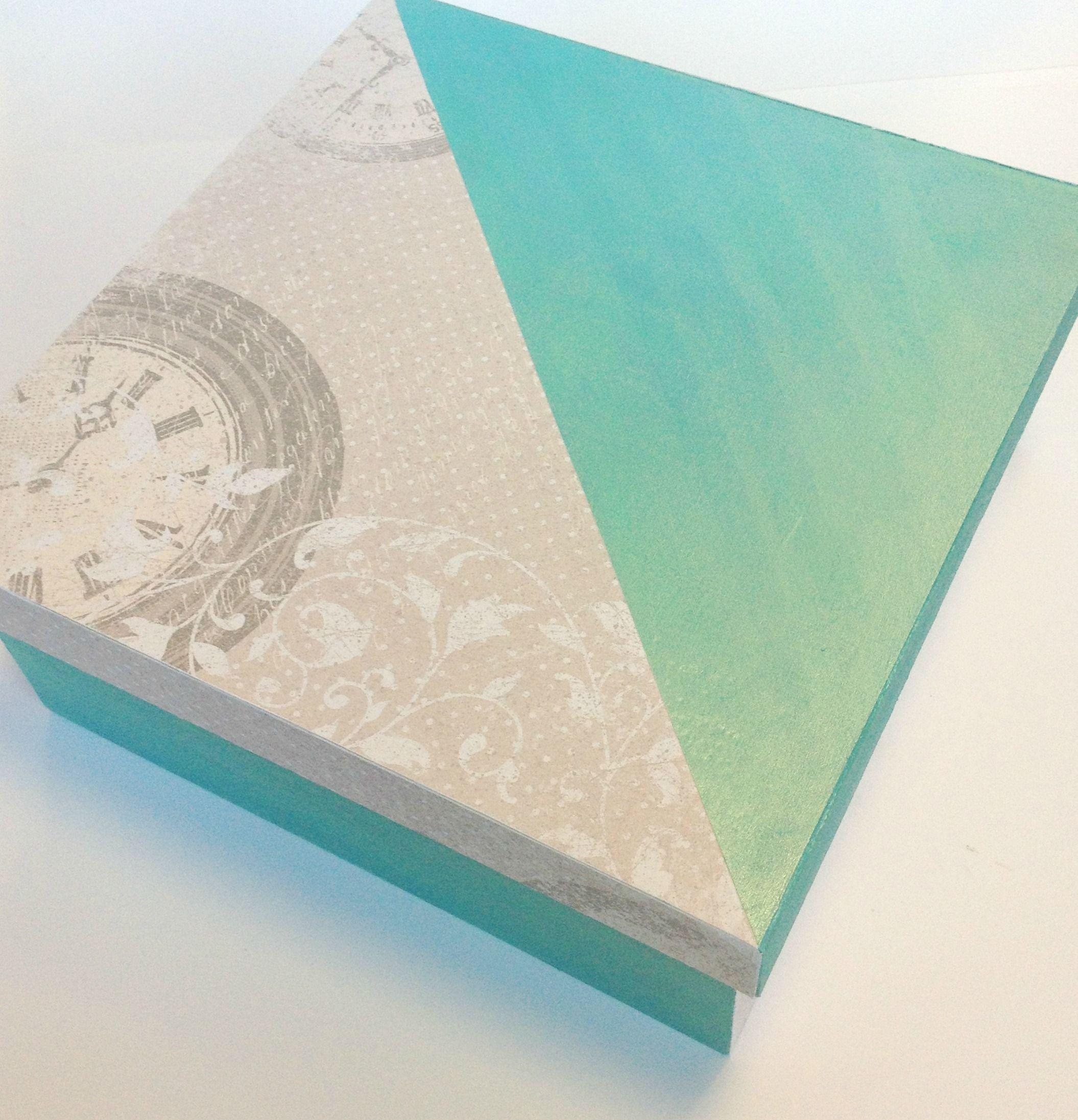 Pack cajas de madera 4/4 decoradas #crafts #manualidades #papel #scrapbook #deco #paint #lumiere #turquesa #perlado