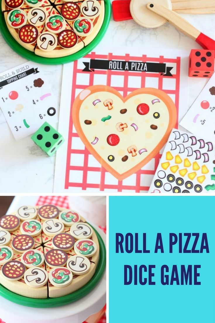 Roll a Pizza Game, DIY dice game, family game Pizza
