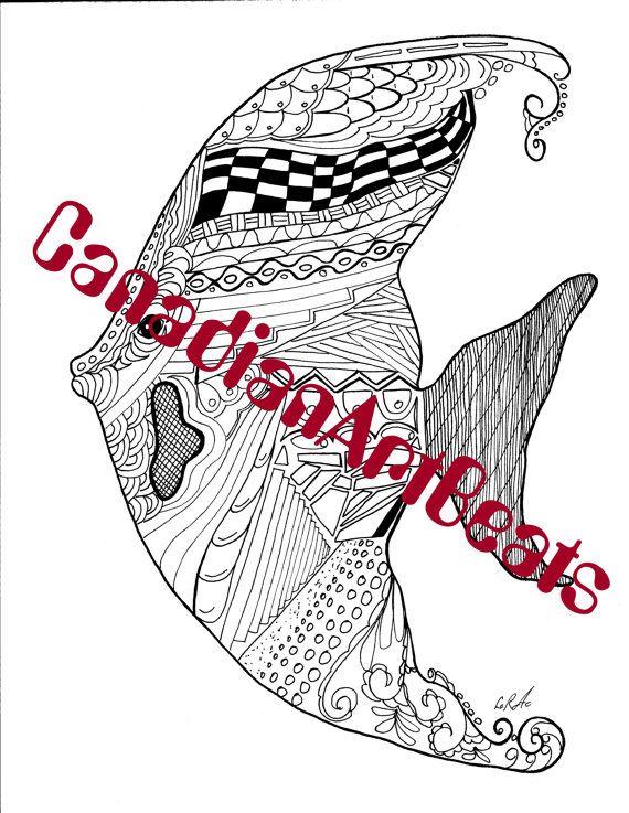Angelfish Ocean Coloring Page Downloadable Printable Art