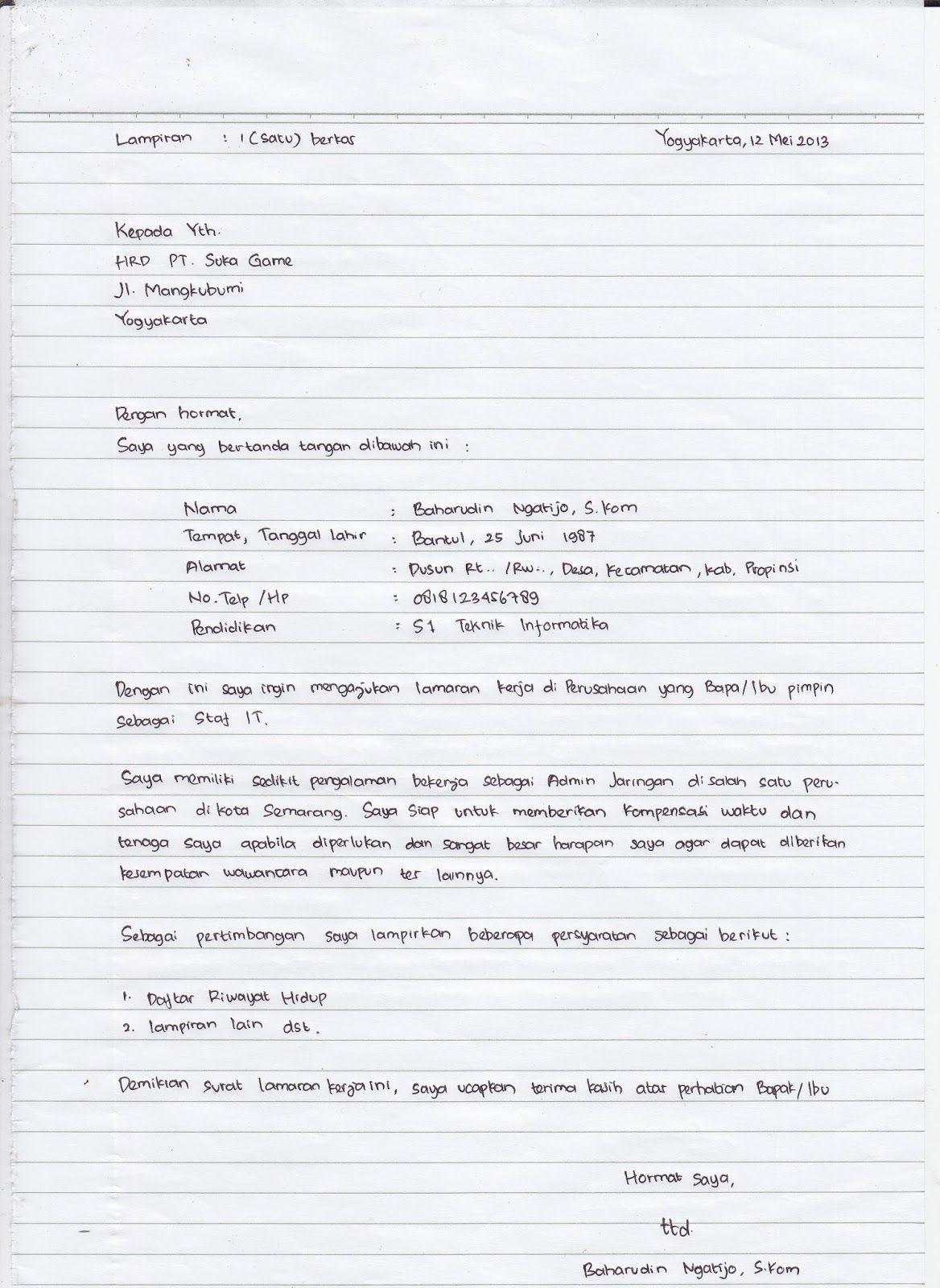 Surat Lamaran Kerja Pabrik Tulis Tangan Ben Jobs Tulisan