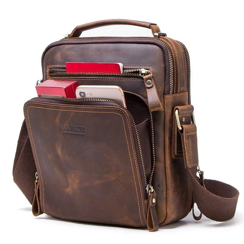 Men/'s Vintage Brown Genuine Crazy Horse Cow Leather Messenger Bags Shoulder Bag
