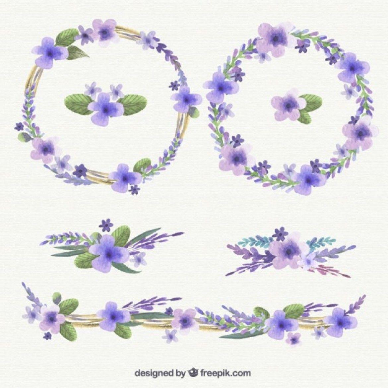 Free vector Watercolor purple wreath 18469 Purple
