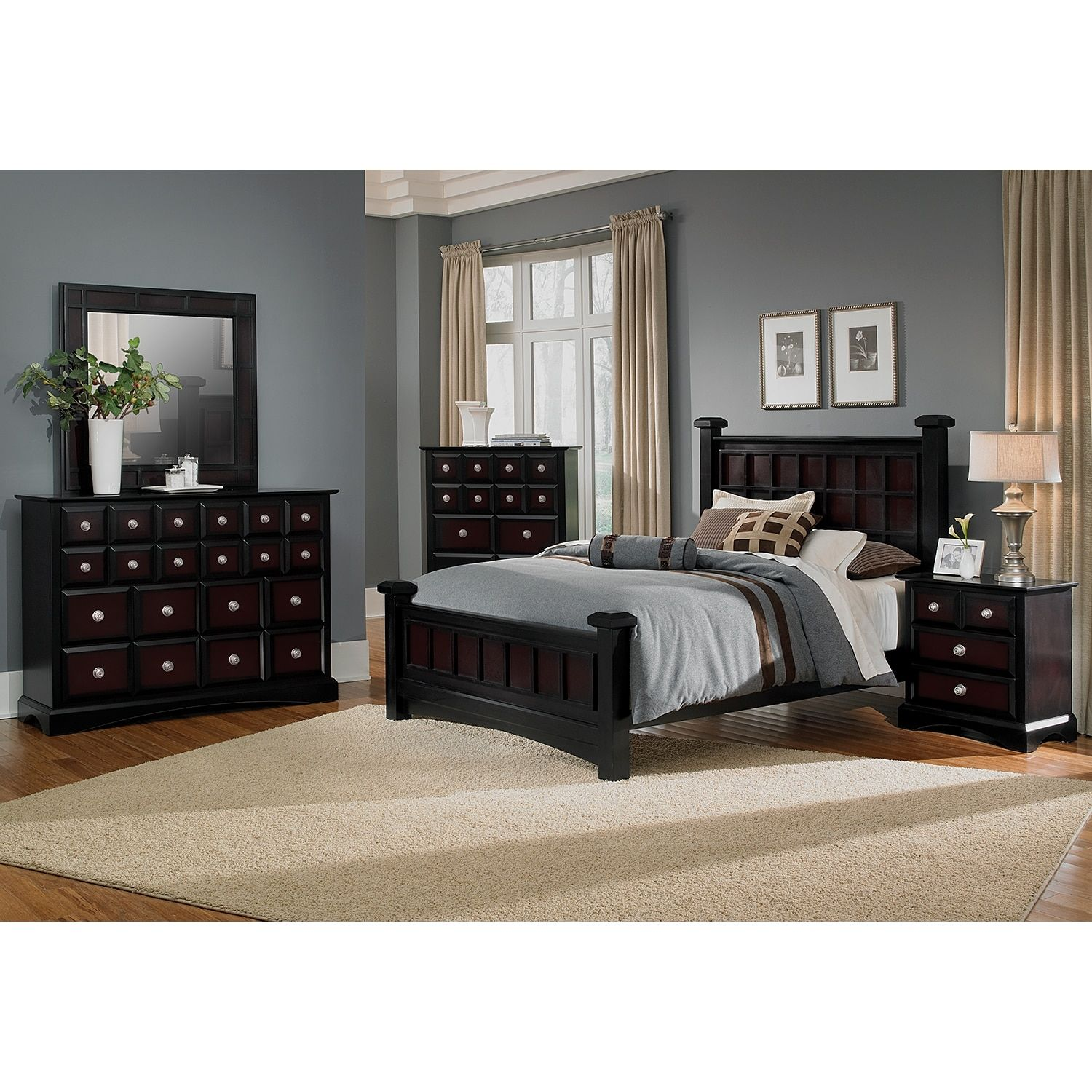 Winchester Master Suite: Winchester Black And Burnished Merlot Bed