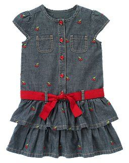 Cherry Embroidered Chambray Dress