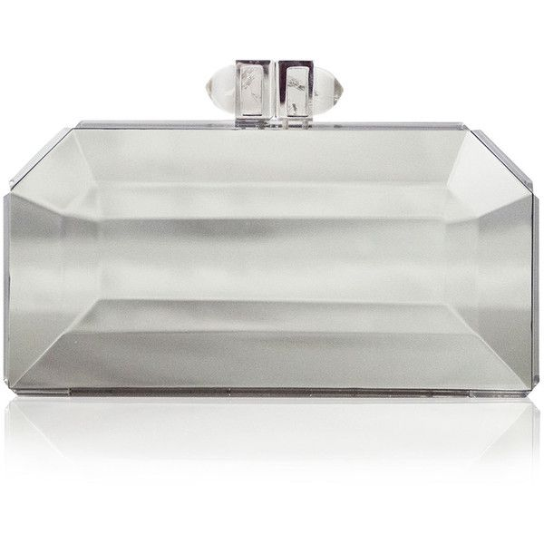 Judith Leiber Couture Faceted Box Clutch (4.623.430 COP) ❤ liked on Polyvore featuring bags, handbags, clutches, purses, bolsas, silver, judith leiber purses, hard clutch, clasp purse and judith leiber clutches