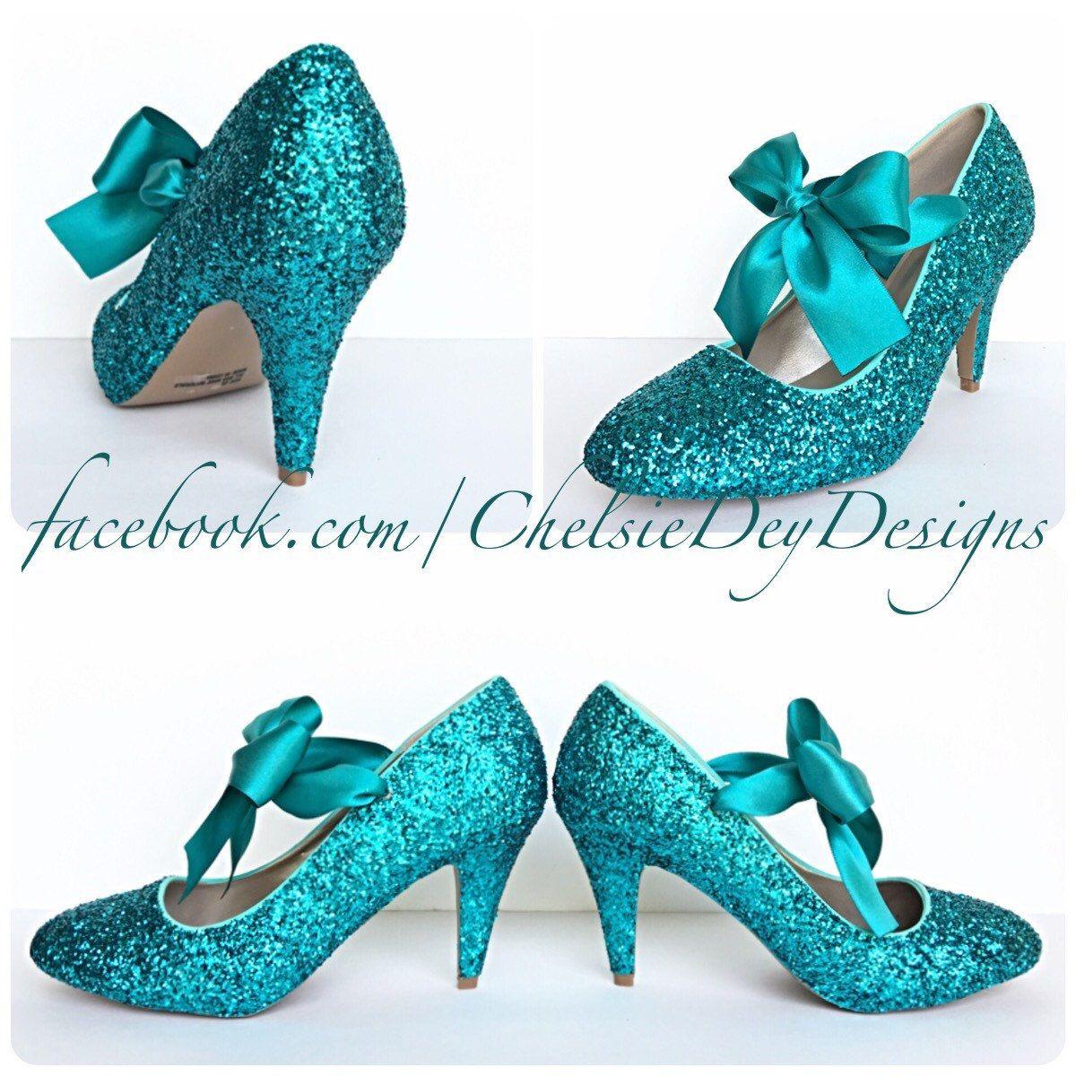 Teal Glitter High Heels Aqua Turquoise Blue Pumps