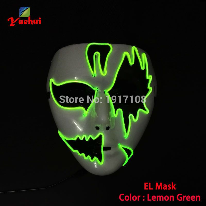 High quality EL wire scary Carnival terror glowing Mask,Night ghost