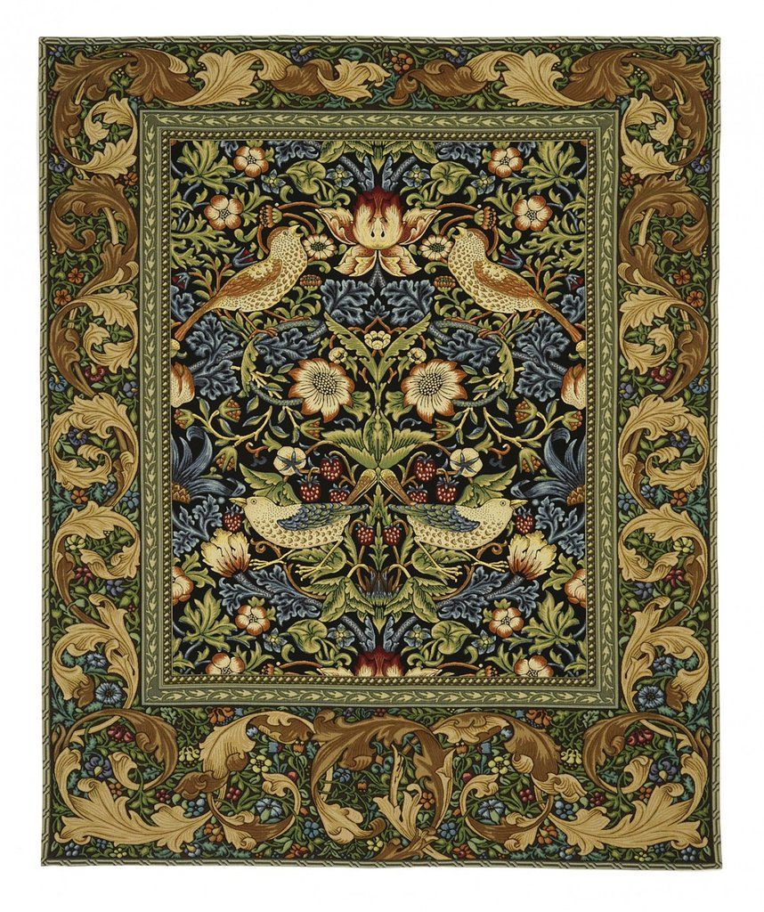 William Morris Strawberry Thief Tapestry With Rod Fine Art Tapestries Blue Wall Tapestry Tapestry Wall Art