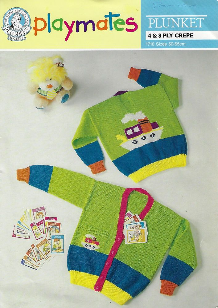 Child Cardigan Tugboat Motifs Plunket 1710 Knitting Pattern 4 8