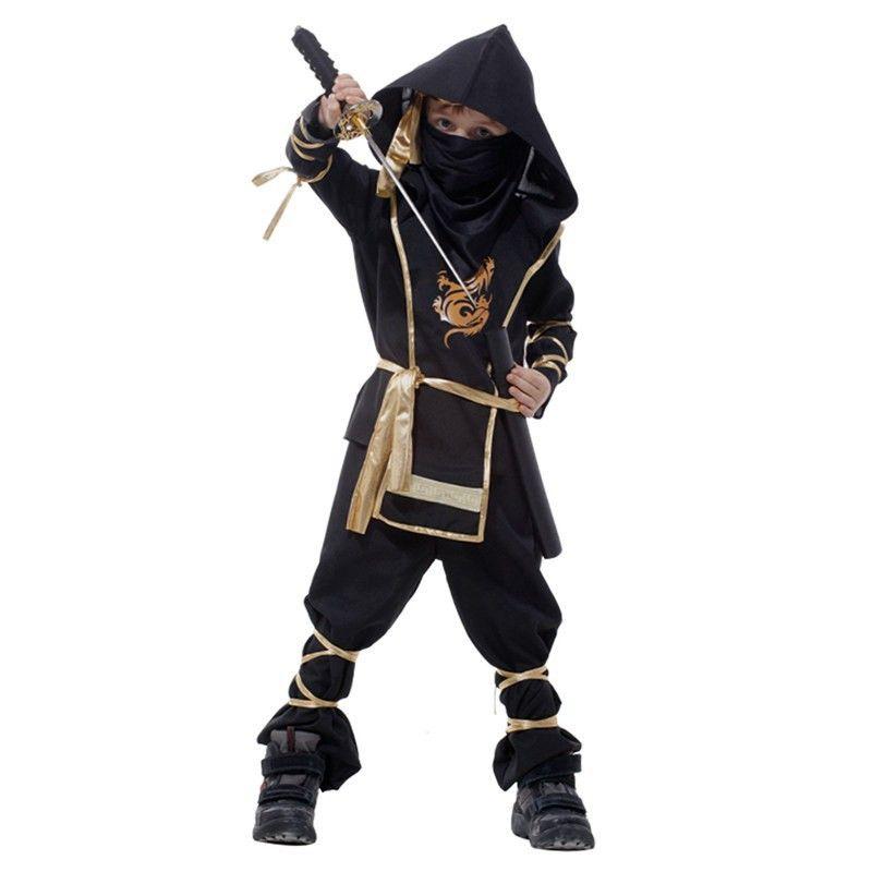어린이 슈퍼 잘 생긴 소년 아이 블랙 닌자 전사 의상 할로윈 크리스마스 파티 게임 성능 의류