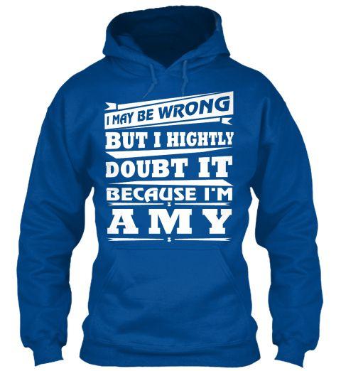T Shirt Name Amy!! Royal Sweatshirt Front