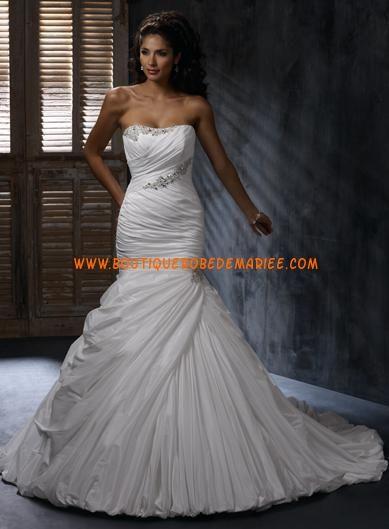Robe de mariée sirène Taffetas Col En Coeur Traine Courte Brilliant