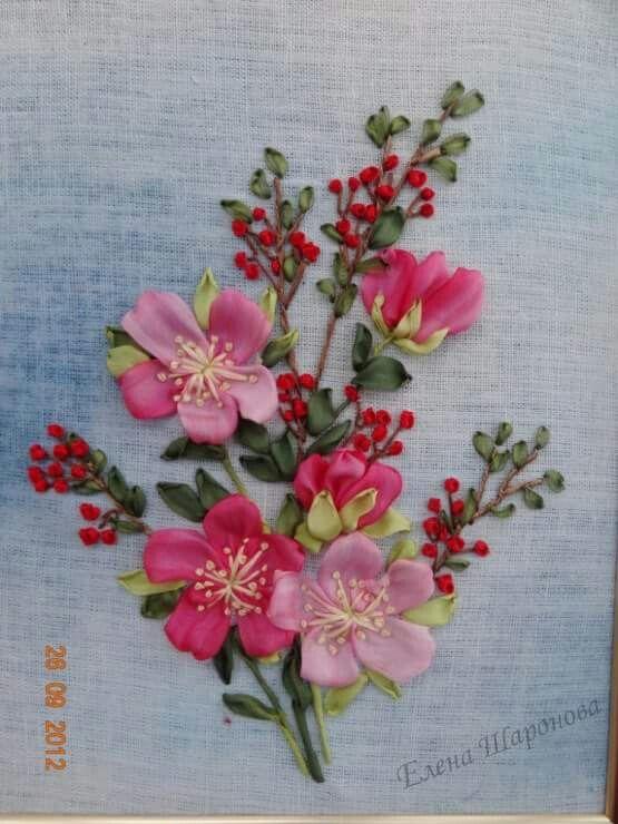 silk flower embroidery