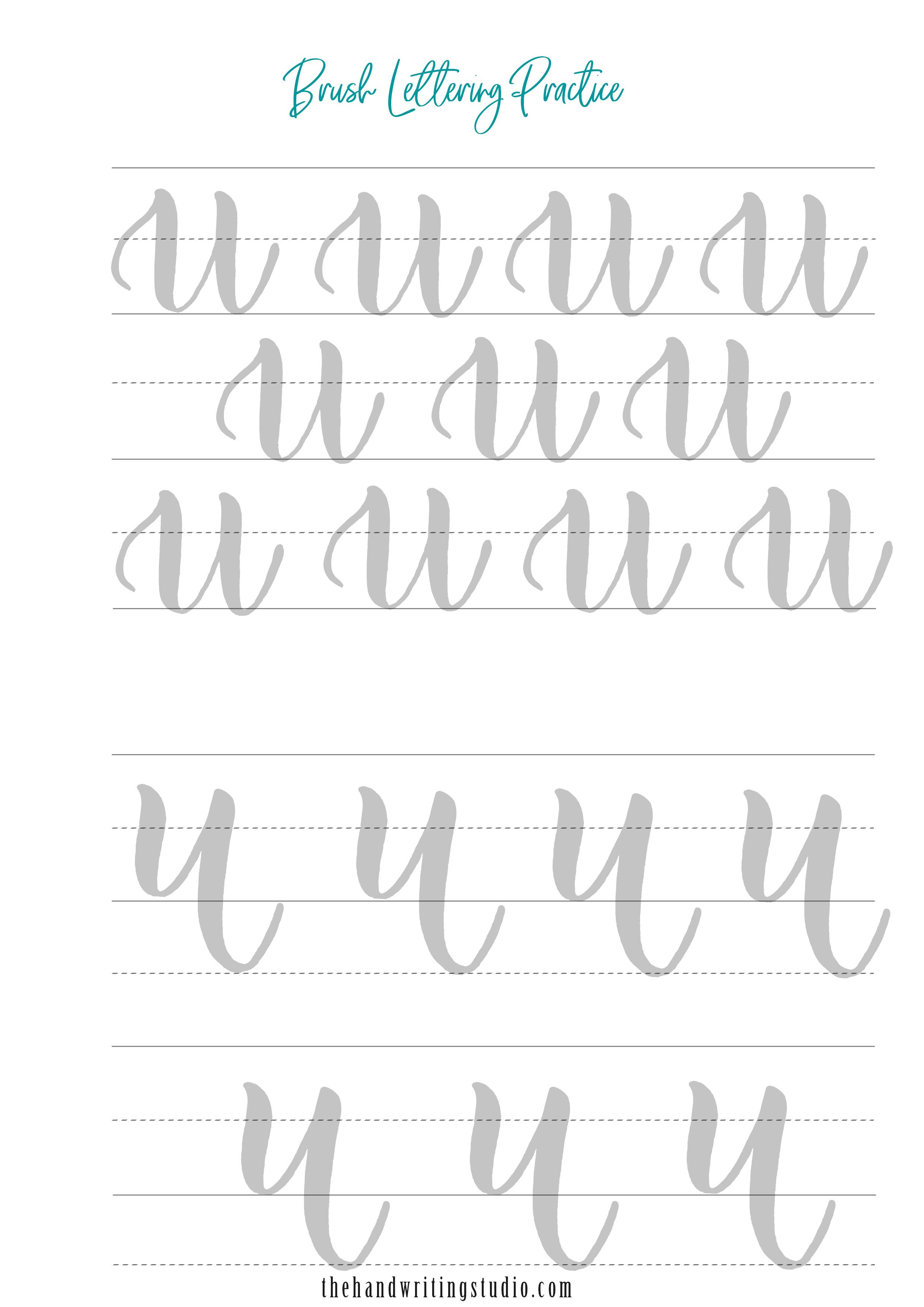 Brush Lettering Worksheets Lowercase And Uppercase