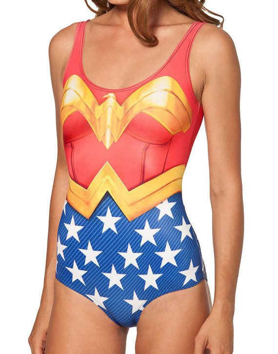 d2fa52d6341e6 Wonder Woman Swimsuit by WizardsOfTheWest on Etsy, $32.00 | Summer ...