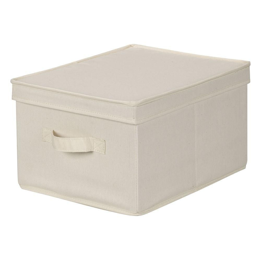 Household Essentials 12 In X 15 In Natural Canvas Large Storage Box 113 With Images Canvas Storage Storage Boxes With Lids Household Essentials