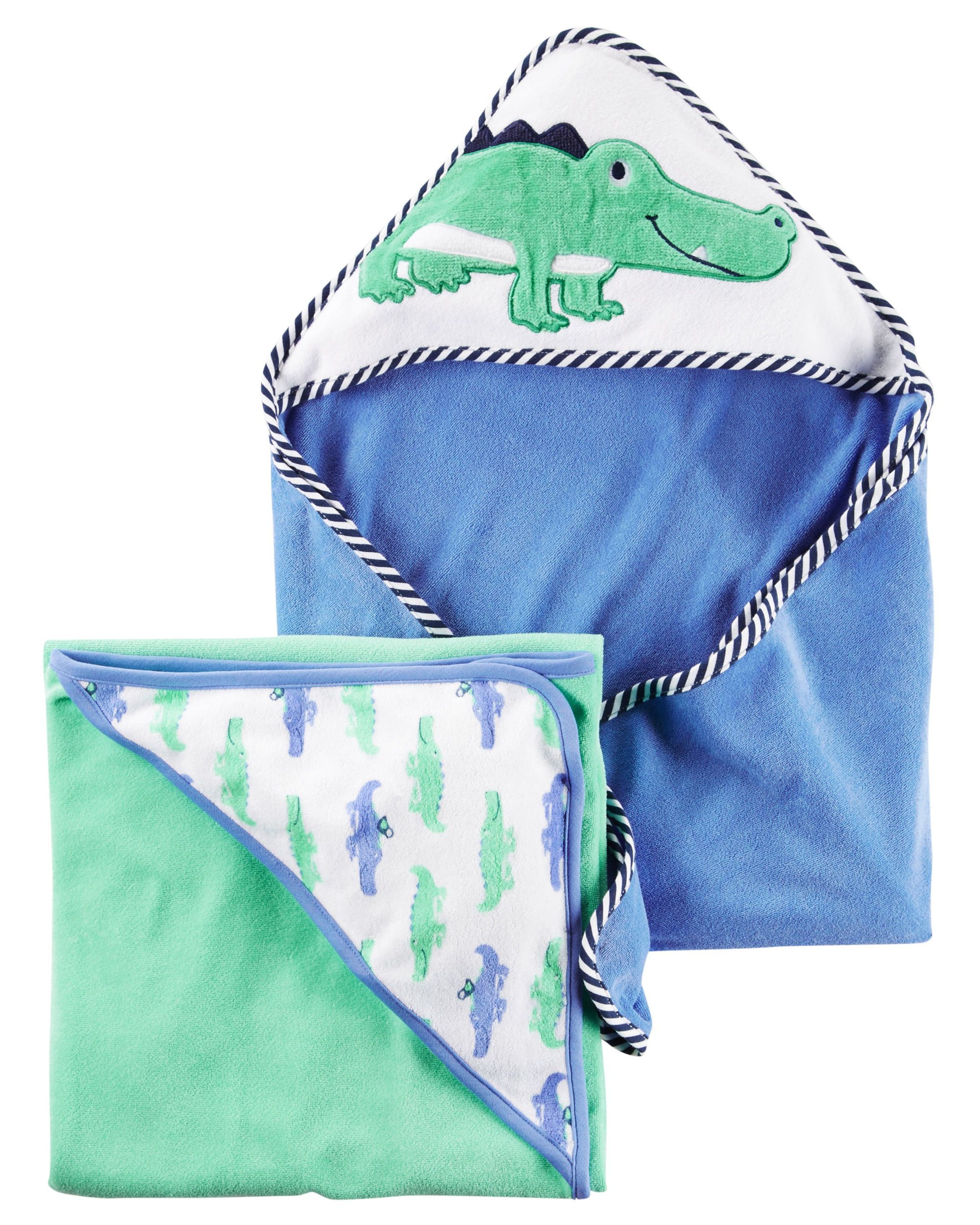 Baby Boy 2 Pack Alligator Hooded Towels Carters Com Carters