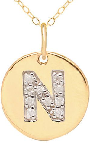 5999d50032c32 Lord & Taylor 14 Kt. Yellow Gold and Diamond N Pendant Necklace on ...