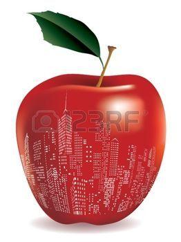 nueva york: Resumen de color rojo manzana Nueva York signo