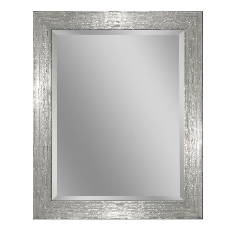 Allen Roth 26 In X 32 Chrome And White Rectangular Framed Bathroom Mirror