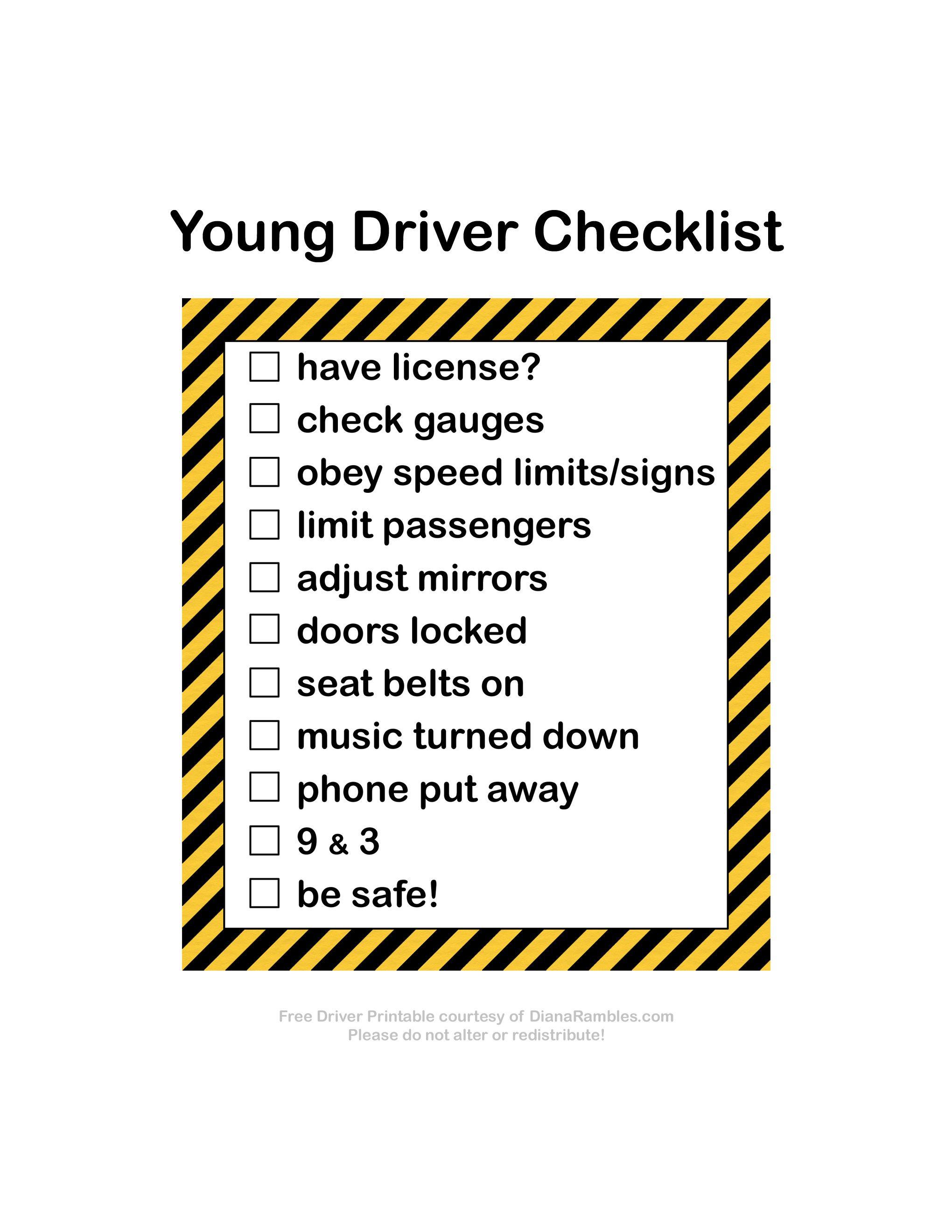 New Driver Checklist Free Printable 1stimpressionscount Ad New Drivers Checklist Drivers