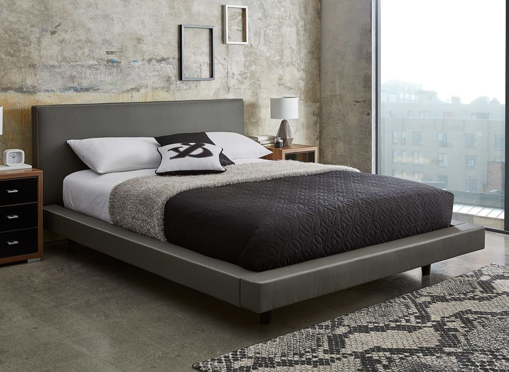 Owain room 'Diaz' Dreams.co.uk Leather bed frame, Grey