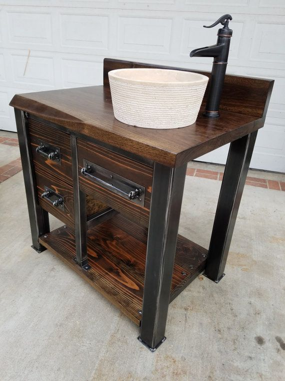 Vintage industrial reclaimed bathroom vanity with hardwood for Muebles industriales vintage