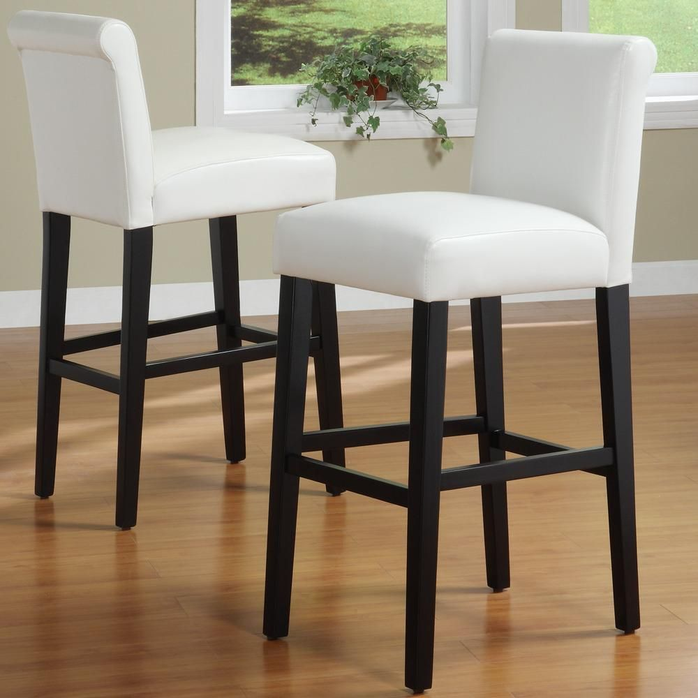 Bennett White Faux Leather 29-inch High Back Bar Stools (Set of 2 ...