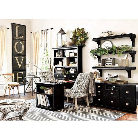 Original Home Office Desk Return With Open Shelf Cabinet Ballard Designs