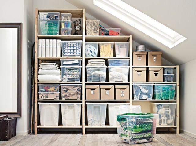 Nos Idees De Rangements Pour Le Garage Elle Decoration Attic Storage Solutions Attic Storage Attic Spaces