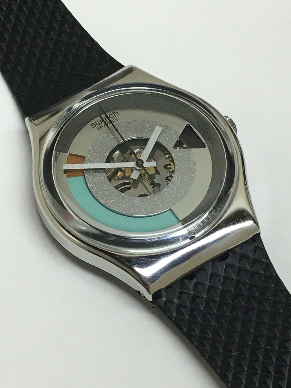 Vintage Swatch Watch Metropolis Gx405 1989 Silver Bronze Black Turquoise Rotating Color Wheel Raised Py Vintage Swatch Watch Womens Watches Luxury Swatch Watch