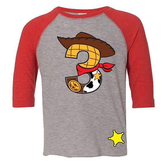 180e45bffbdb9 Custom COWBOY Birthday Shirt RED RAGLAN with Name on Back Woody ...