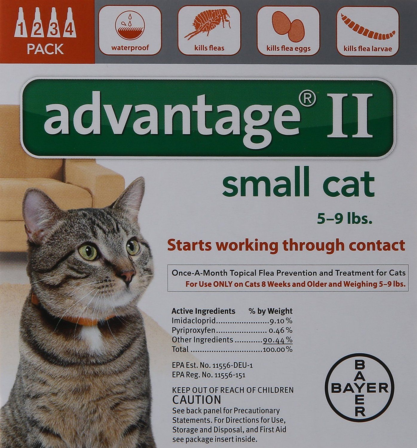 Bayer Advantage II Flea Control Treatment for Cats ** Read more reviews of the product by visiting the link on the image. (This is an affiliate link and I receive a commission for the sales)