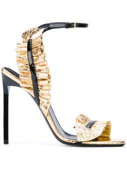 'Edie' Sandalen mit Metallic-Effekt