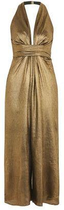 c21d736e6bc Topshop Gold foil halter neck jumpsuit
