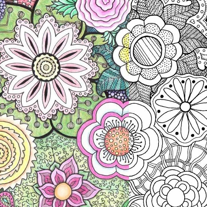 Coloring Pages With Examples. Free Coloring Pages for Adults  Zentangle Flowers Yet Another Mom Blog More Adult coloring
