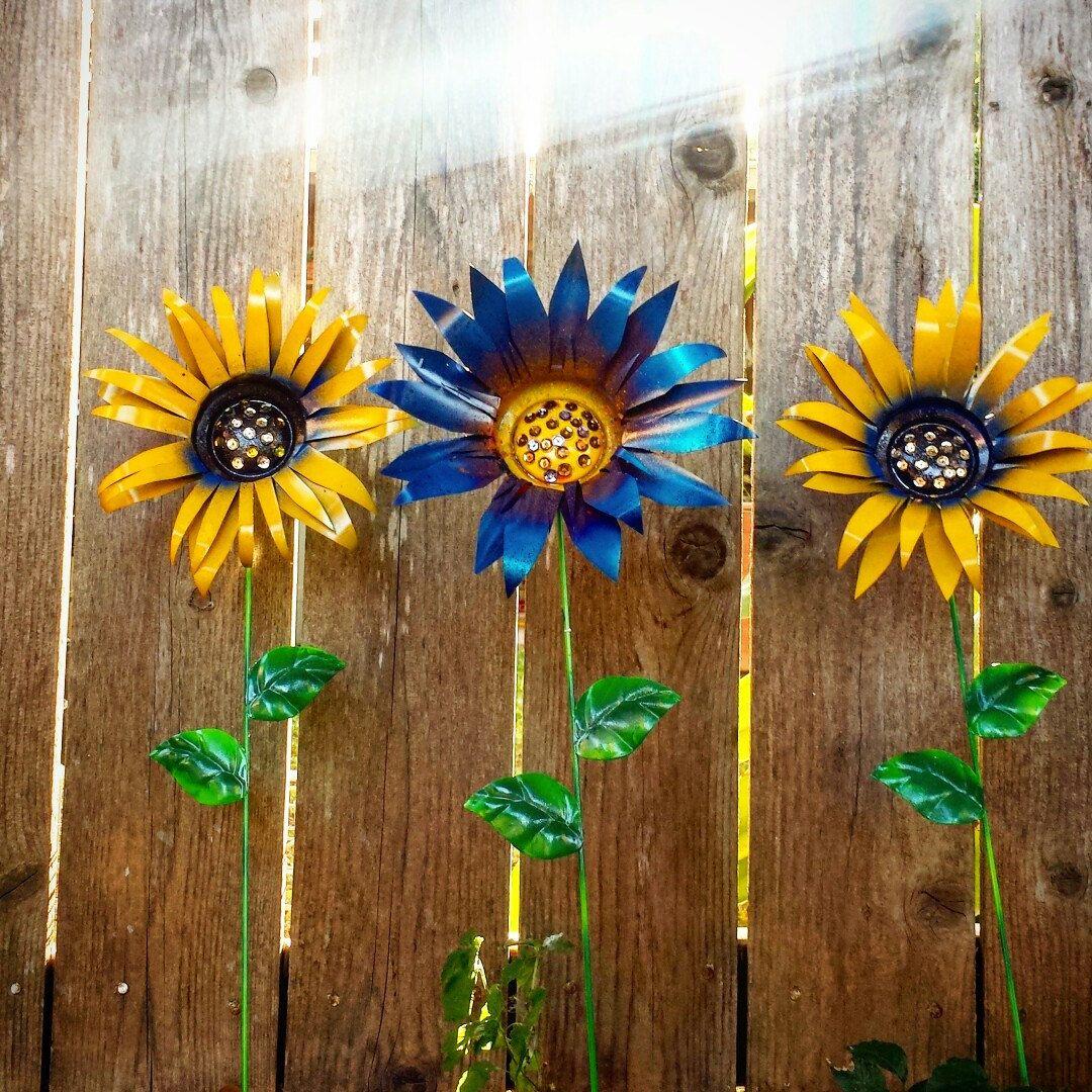 Beautiful Metal Flower Garden Stake, Sunflower Garden Stakes Yard Decoration, Metal  Garden Art